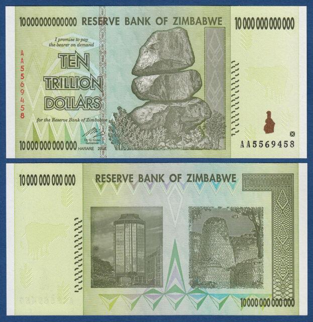 zimbabwe 10 trillion dollars 2008 g nstig kaufen ebay. Black Bedroom Furniture Sets. Home Design Ideas