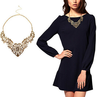 Women Vintage Luxury Collar Bronze Hollow Flower Chain Choker Necklace Fashion