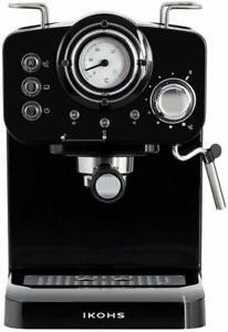 Detalles de IKOHS THERA Retro Cafetera Express para Espresso y Cappucino 1100W 15 Bar Negro