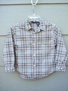 Cherokee-Boys-Button-Front-Shirt-Sz-S-Brown-Plaid-Casual-Long-Sleeve-Cotton