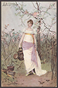 Lady-Gardener-Perhaps-lady-in-her-Finery-Carries-a-Watering-Can-1904-Postcard