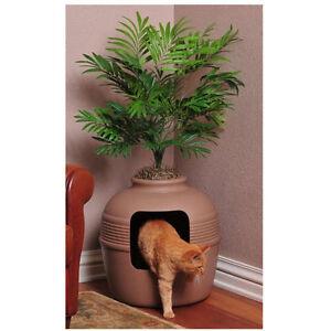Cat-Pet-Hidden-Clean-Litter-Box-Clay-Pot-Plant-Decorative-House-Odor-Control