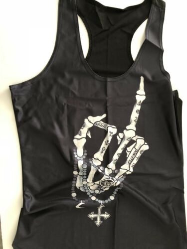 Details about  /Women Black Party Halloween Cross Skeleton Finger Costume Tank Tops Tee T-shirt