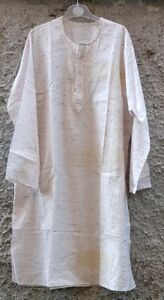 Tunica in tessuto fantasia color beige c/ ricamo-tasche-bottoni -MyBatua-Kurta