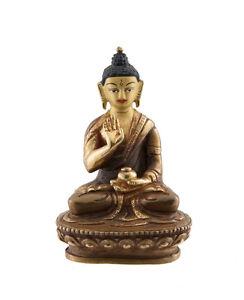 Soprammobile Tibetano Da Budda Akshobhya Dhyani 8.5 CM Rame E Doratura AFR8-3255
