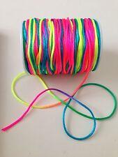 7M Rainbow / Neon Braided nylon Cord Thread 1.5mm great for Shamballa Kumihimo
