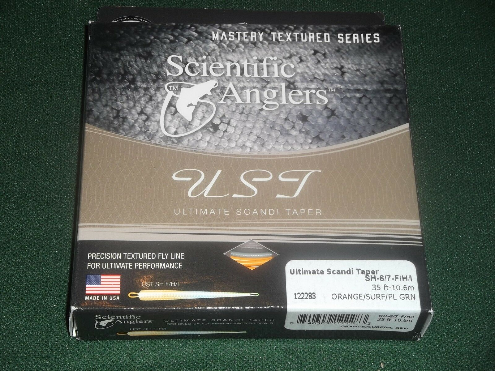 SCIENTIFIC ANGLERS ULTIMATE SCANDI TAPER SH-6 7-F H I orange SURF PL GRN LINE