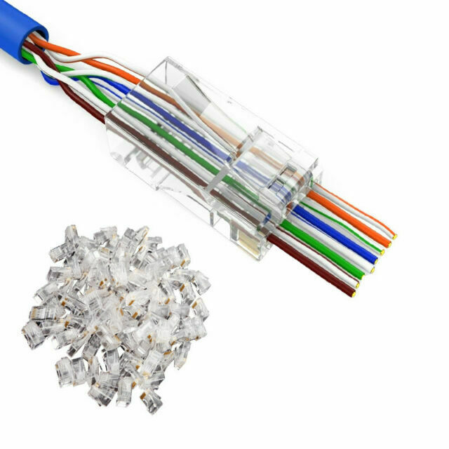 300pcs RJ45 Modular Plug Network Connector Cat5 Cat5e Cat6 Solid Cable Heads NEW