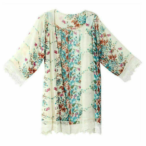Women Boho Kimono Cardigan Kaftan Shawl Coat Swimwear Cover Up Blouse Top Beach