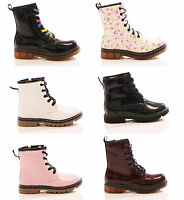 KIDS GIRLS LACE UP ANKLE BOOTS BIKER CASUAL ZIP UP COMBAT RUBBER GRIP SOLE SHOES