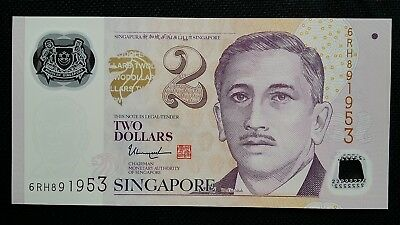 Singapore $2 Dollars Nd 2017 P New 2 Hollow Stars Unc Banknote Shrink-Proof