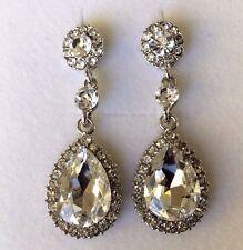 D13 Large diamond white crystal pear drop white gold pltd earrings free gift box