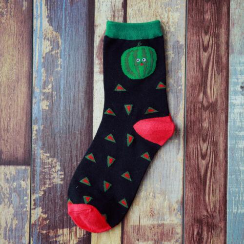 1 Pair Cotton Casual  Socks Women Striped Dot Cute Fruit Food Socks 4 Colors