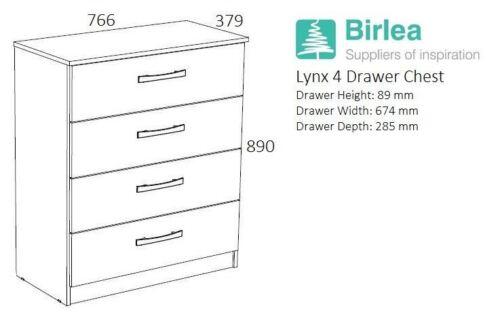 Birlea White Gloss /& Grey Gloss Lynx 4 Drawer Medium Chest