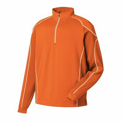New! FootJoy Mens Mixed Texture 1/2 Zip Pullover - M, L - Orange