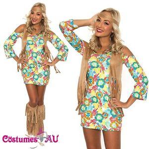 Image is loading Ladies-60s-70s-Retro-Hippie-Costume-Go-Go-  sc 1 st  eBay & Ladies 60s 70s Retro Hippie Costume Go Go Girl Disco Dancer Groovy ...