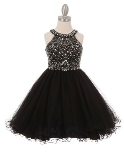 Champagne Flower Girls Dazzling Rhinestones Short Dress Pageant Christmas Party