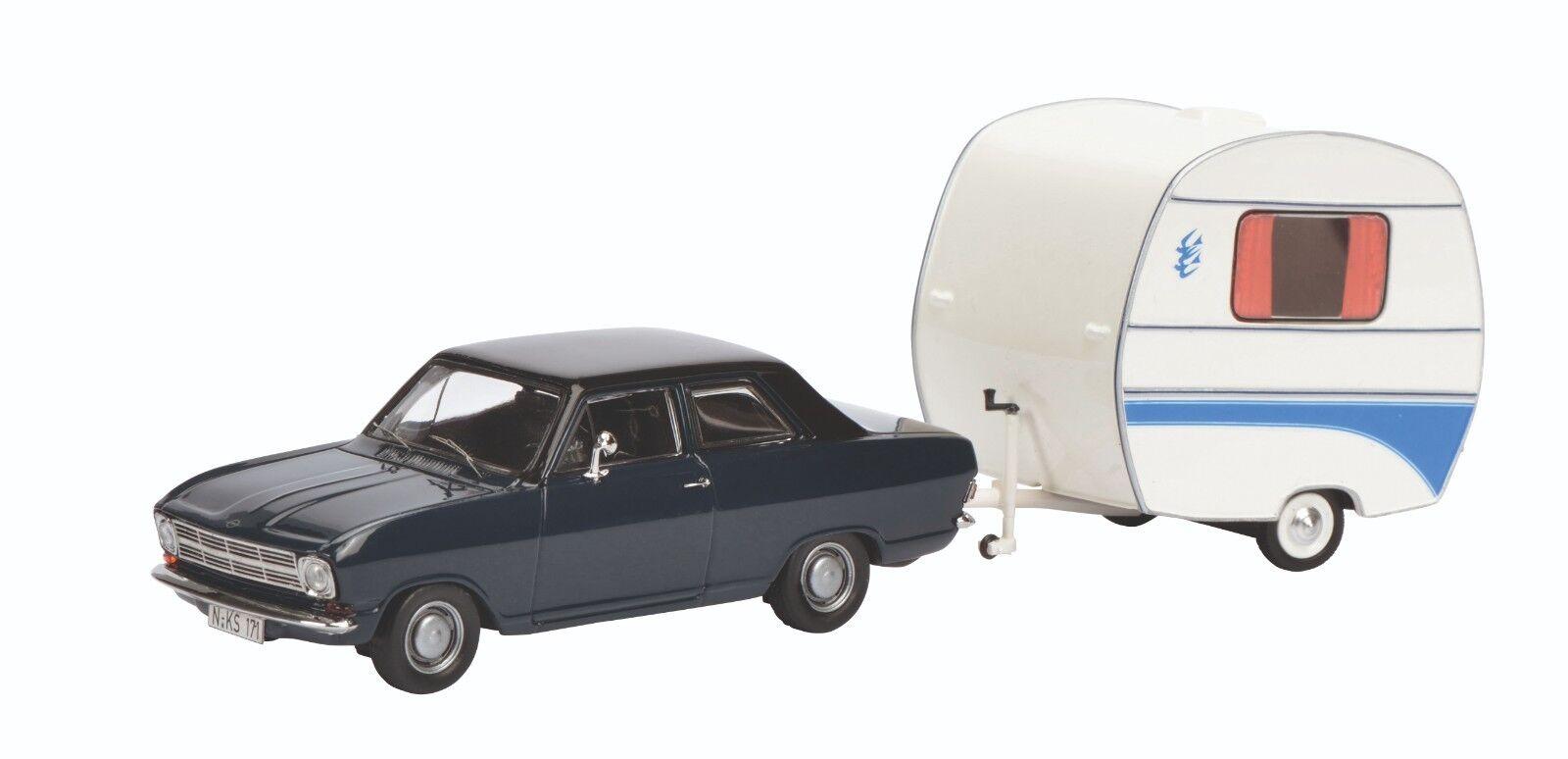Schuco 450294700 - Opel Kadett B with Caravan Kancherla Swallow's Nest -