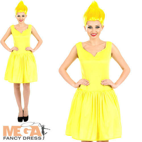 Wig Ladies Fancy Dress Fairytale Troll Gnome Adult Womens Costume Yellow Pixie