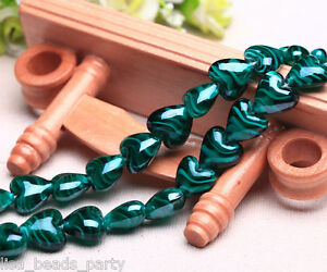 10pcs-16x14mm-Exquisite-Heart-Lampwork-Glass-Loose-Spacer-Beads-Peacock-Green