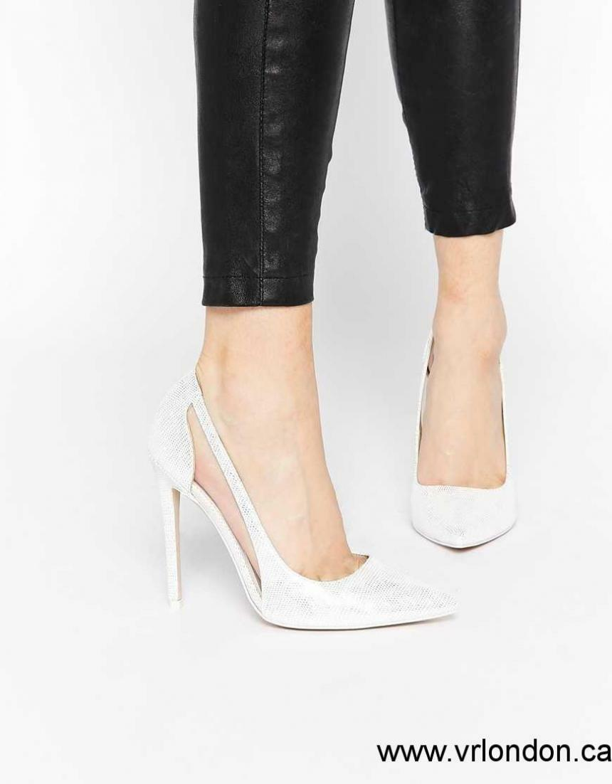 ASOS PRODUCTION Pointed High Heels - Silver Shoes - UK3