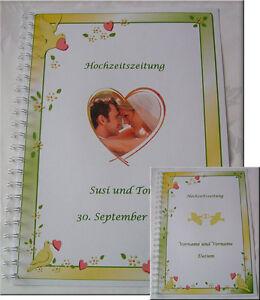 Hochzeitszeitung-Festzeitung-Hochzeit-Geschenk-Karte-Tauben-Ehe-Ring-gelb-gruen