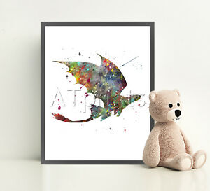 HOW-TO-TRAIN-YOUR-DRAGON-Poster-Print-Watercolor-Framed-Canvas-Wall-Art-Nursery