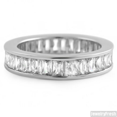 White Gold Finish Baguette Stone Flawless CZ Eternity Ring Band