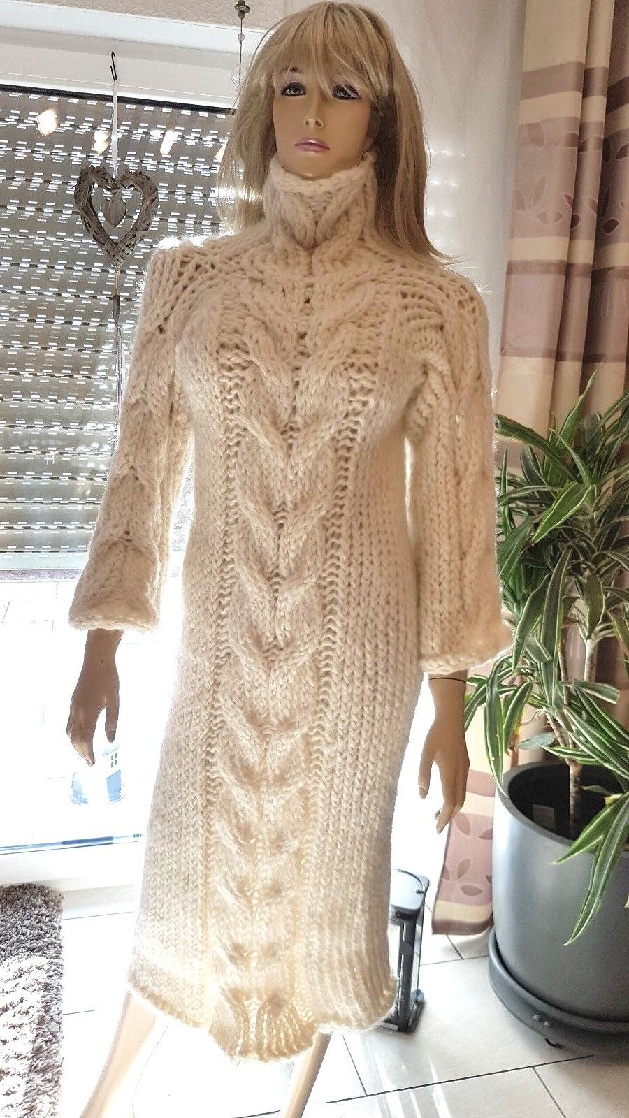 TRAUMMOHAIR KID MOHAIR KLEID DRESS SWEATER Zopfmuster Cable Stitch Stitch Stitch wollwhite -M- 19342a