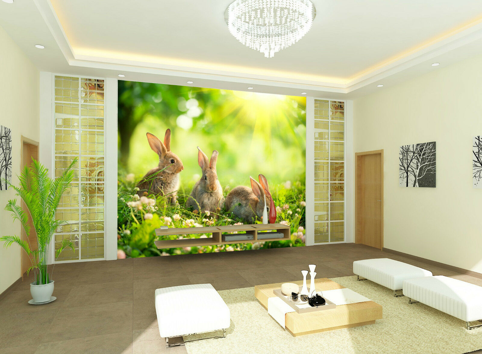 3D Kaninchen 6554 Fototapeten Wandbild Fototapete Bild Tapete Familie Kinder DE