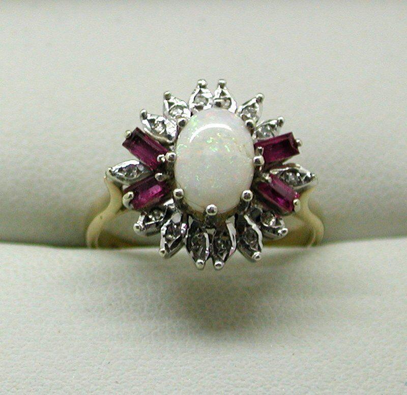 Beautiful 9 Carat gold Opal Pink Topaz And Diamond Dress Ring Size L