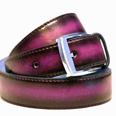 Brown Purple Men Women Leather Belt Formal or Denim style hand patina