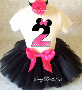 be1bb3ee3eb26 Minnie Mouse Pink Black Dot 2nd Second Birthday Shirt Tutu Outfit ...