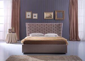Letto Matrimoniale 160.Dettagli Su Letto Matrimoniale Luise Rivestito In Velluto Grigio Design Moderno 160 X 200