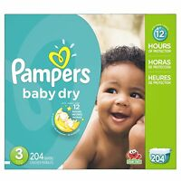 P&g Pampers Baby Dry Diapers Economy Pack Plus Size 3 204 Count