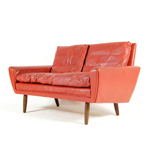 Retro-Vintage-Danish-Teak-amp-Leather-Love-Seat-2-Seater-Sofa-70s-Mogensen-50s-60s