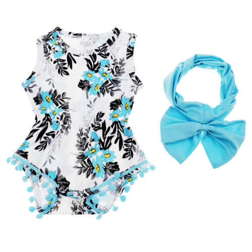 Infant Baby Girls Sleeveless Floral Tassel Romper Summer Bodysuit with Headband