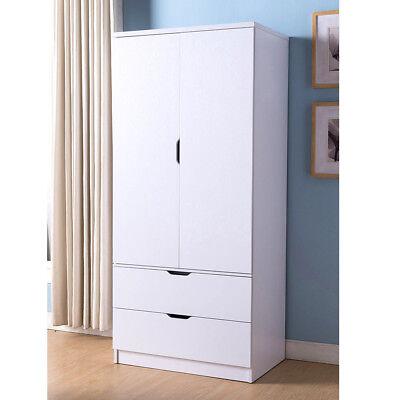 Tall Wardrobe Closet Cabinet Bedroom Clothes Storage Drawer Organizer Wood  White | eBay