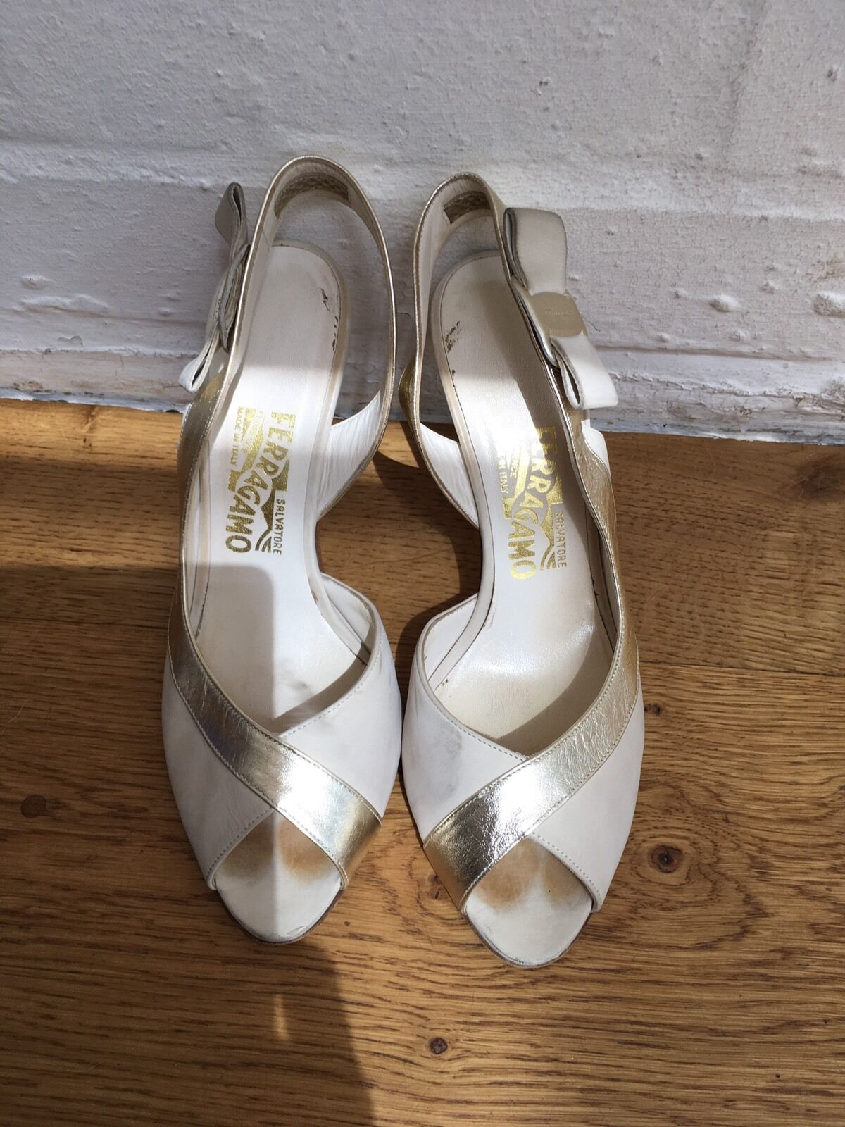 SALVATORE FERRAGAMO LEATHER PEEP TOE  PUMPS  Schuhe SIZE 37.5 US 7 1/2 37.5 SIZE UK 4.5 869b8a