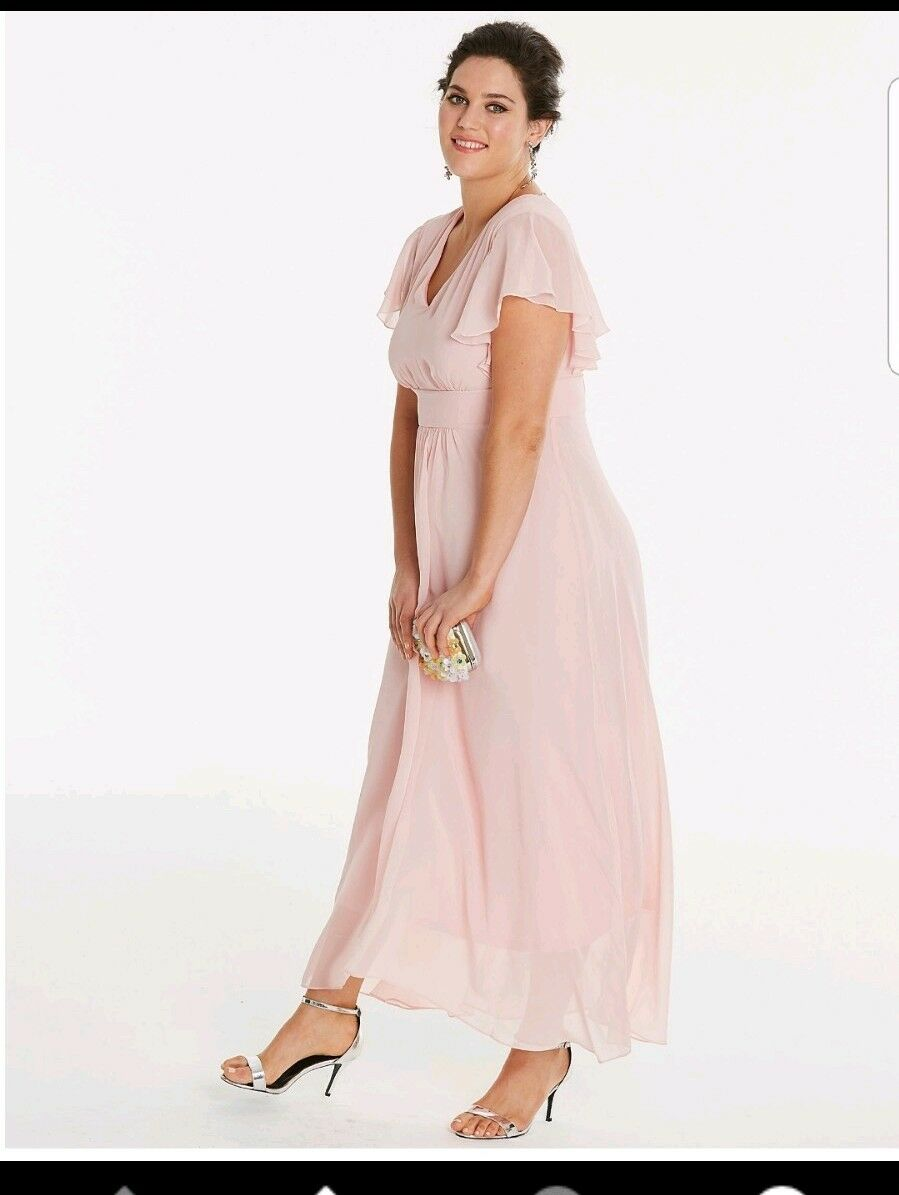 Simply Be Angel Sleeve Bridesmaid bluesh Maxi Dress Plus Size 20