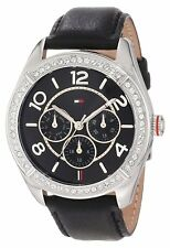 New Tommy Hilfiger Women Multi-Function Crystals Black Watch 40mm 1781248 $155