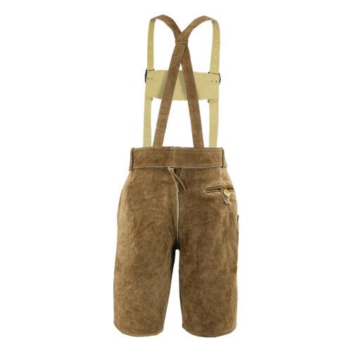 Trachten-Lederhose Träger Gürtel Trachtenhose Leder Kurz Braun Oktoberfest Hose
