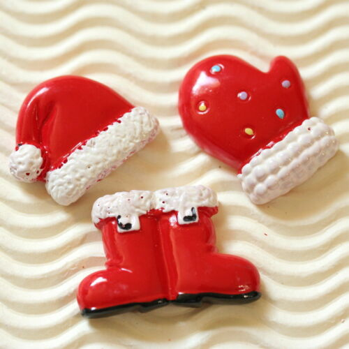 x Santa Claus Resin Flatback Boot//Hat//Glove Christmas Cabocho SB479 10 or 12pc
