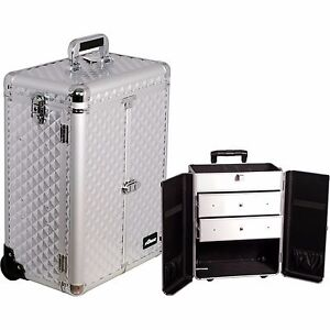 Professional Aluminum Rolling Makeup Cosmetic Case Wheeled