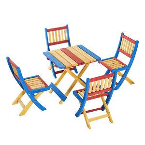 Outsunny Set Tavolo da Giardino con 4 Sedie Colorato Legno di Abete