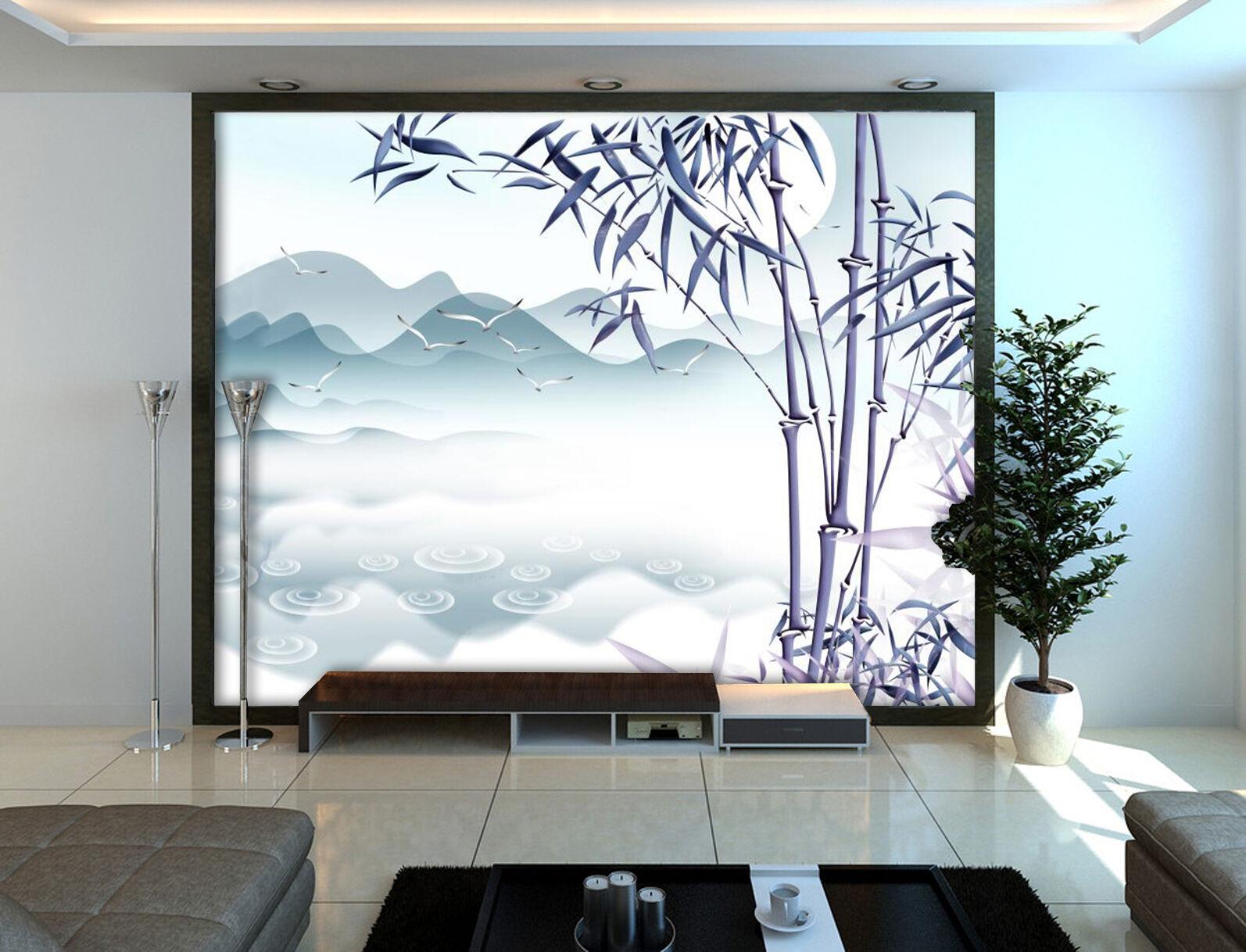 3D Moon Bamboo Forest 835 Wallpaper Mural Paper Wall Print Wallpaper Murals UK