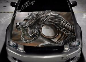 Angry Wolf Full Color Graphics Adhesive Vinyl Sticker Fit Any Car - Car vinyl decalsabstract full color graphics adhesive vinyl sticker fit any car