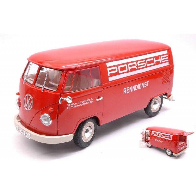 WELLY WE18053TDR VW T1 BUS 1963 PANEL VAN PORSCHE RENNDIENST 1 18 DIE CAST