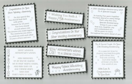 4 SILVER WEDDING ANNIVERSARY Greeting Card Craft Verse Toppers W//WO Sentiments