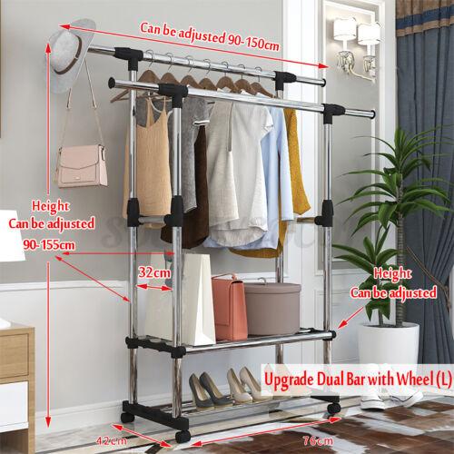 Adjustable Rail Scalable Portable Clothes Hanger Rolling Garment Shelf   #UAS